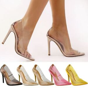 Image is loading Womens-Ladies-Perspex-Clear-Court-Shoes-Stiletto-High-