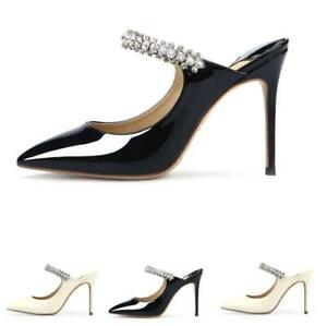 Womens-Slingbacks-Rhinestones-Patent-Leather-Party-Stiletto-Med-Heel-Pump-Shoes