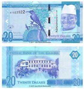 Gambia-20-gambianos-2015-Nuevo-Diseno-P-33-primero-prefijo-Billetes-Unc