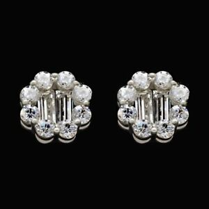 1Ct-Round-and-Baguette-Simulated-Diamond-Halo-Stud-Earrings-14K-White-Gold