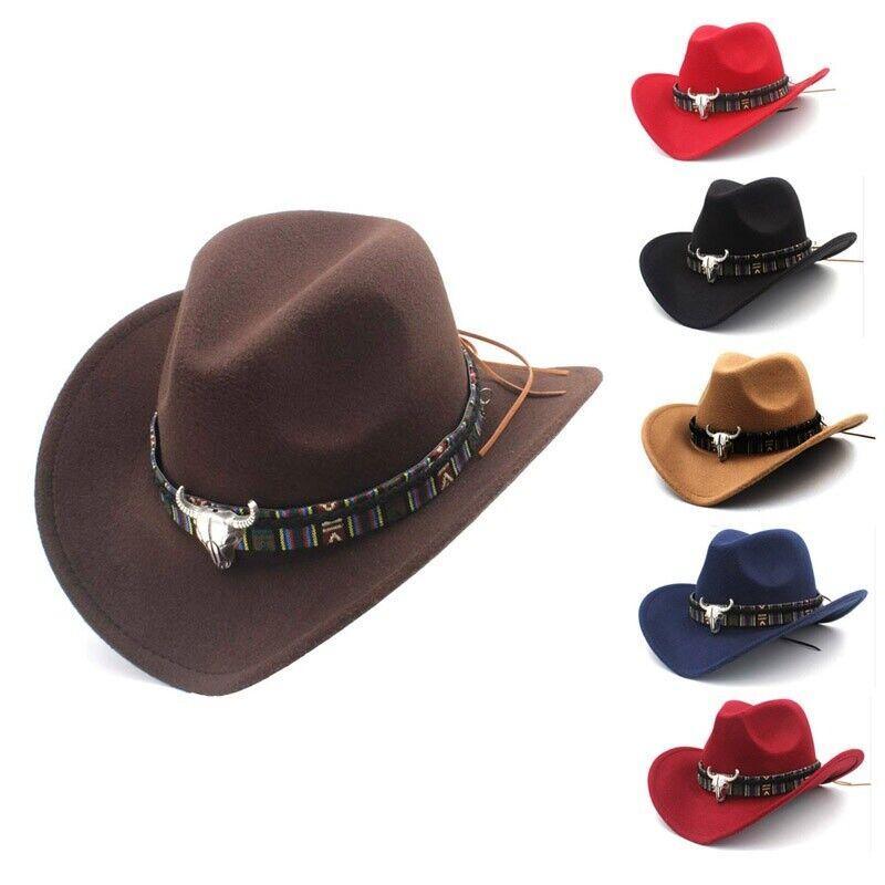 1x Retro Cowboy Cowgirl Sun Hat Wide Brim Western Cap Outdoor Riding Fancy Dress