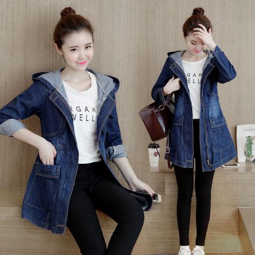 ladies girls Denim jeans hoodie Jackets denim hood coat outwear trench hooded
