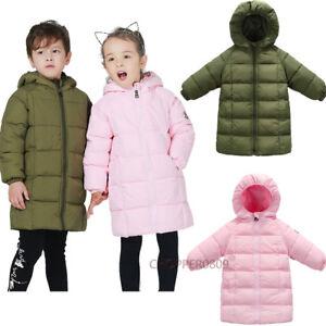 Baby-Kids-Boys-Girls-Down-cotton-Winter-Long-Jacket-Hooded-Coat-Outwear