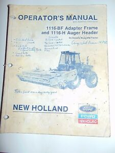 Ford-New-Holland-Operator-039-s-Manual-1116-BF-Adapter-Frame-1116-H-Auger-Header