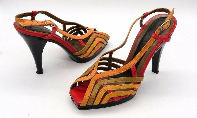 MARNI Size 36 Multi color Open Toe Slingback Leather Stappy High Heel Sandals