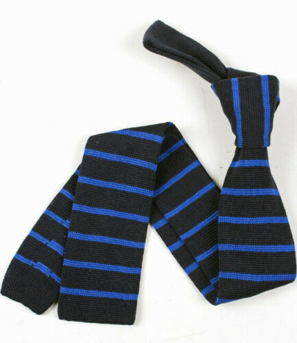 Hand-Made Striped Mens Boys Knitted Cotton Ties Skinny Slim Red Blue Green