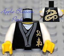 NEW Lego Ninjago BLACK MINIFIG TORSO -Sensei Wu Male Ninja w/Gold Dragon Pattern