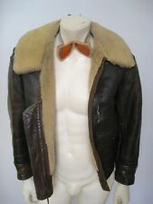 Vintage WWII AN-J-4 Leather DISTRESSED Bomber Jacket AERO Goggles Size 36 R
