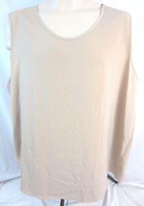 Maggie-Sweet-Top-Blouse-Shirt-Sleeveless-3X-Beige-Womens-Pull-On-Career-C164