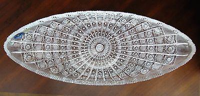 "Pottery & Glass Bohemian Czech Vintage Crystal 22"" Oval Platter Hand Cut Queen Lace 24% Lead Other Bohemian/czech Art Glass"