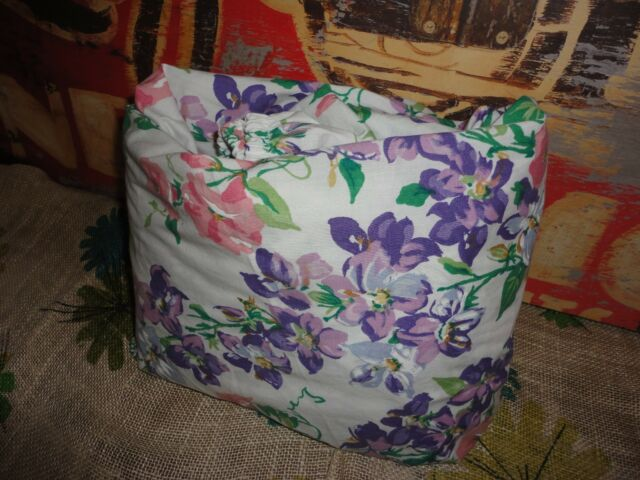 "CANNON PINK PURPLE VIOLETS FLORAL FITTED SHEET COTTON BLEND 11"" POCKETS"