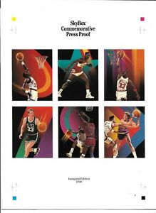 1990 SkyBox Basketball Commemorative Press Proof Sheet Michael Jordan & Bonus