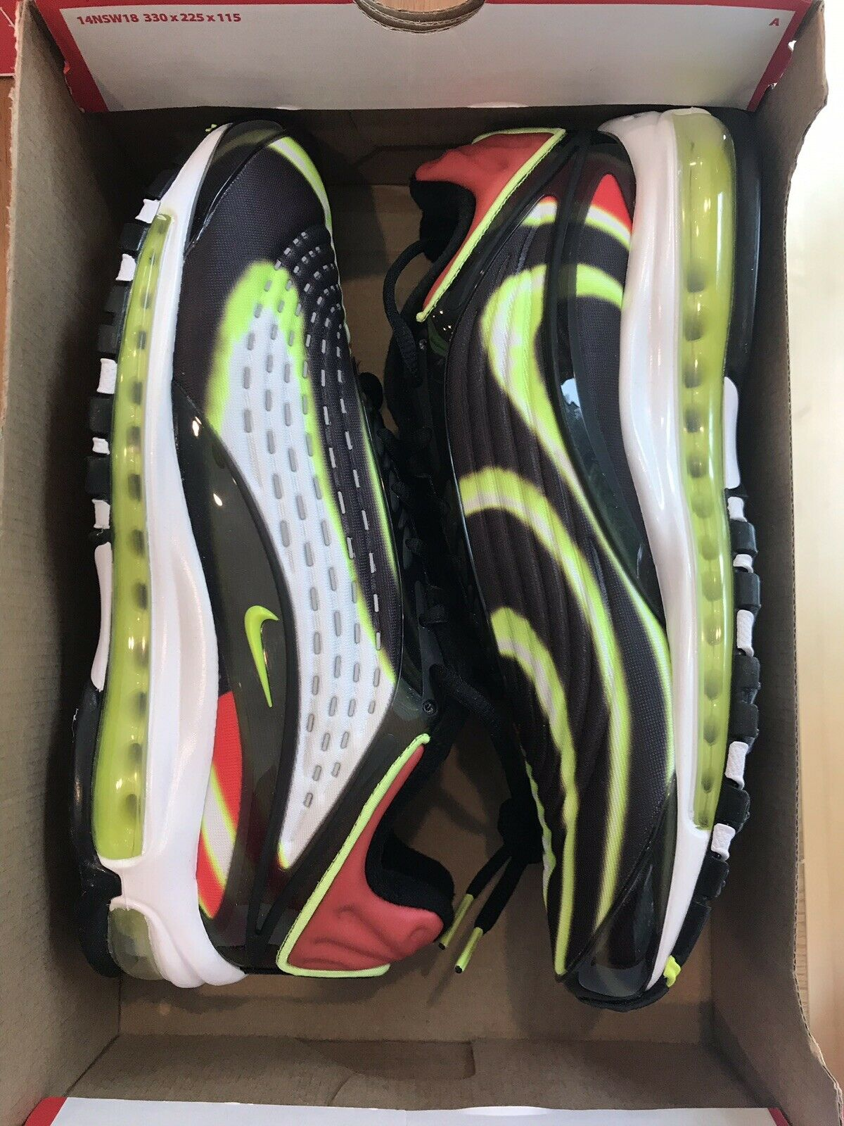 d5d99ef787 ... New Nike Men's Air Max Deluxe Black Volt-Habablack Red-White Red-White  ...