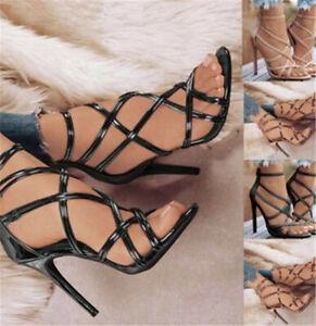 Women Sexy High Stiletto Heel Open Toe Shoes Glitter Zip Party Summer Sandals