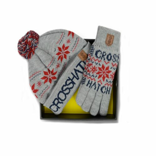 MENS CROSSHATCH HAT /& GLOVES GIFT SET STYLE SNOWSTAR GREY MARL