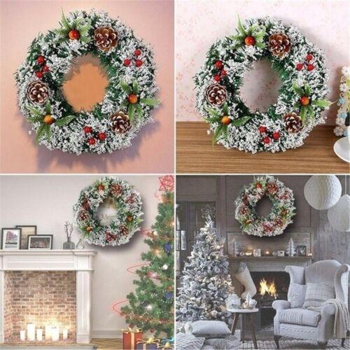 Xmas Wreath Door Wall Hanging Ornament Garland Wedding Festival Party Decor yu