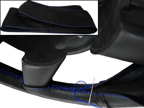Fits 1996 à 2004 SUZUKI JIMNY Noir Cuir Italien Volant couvercle bleu ST
