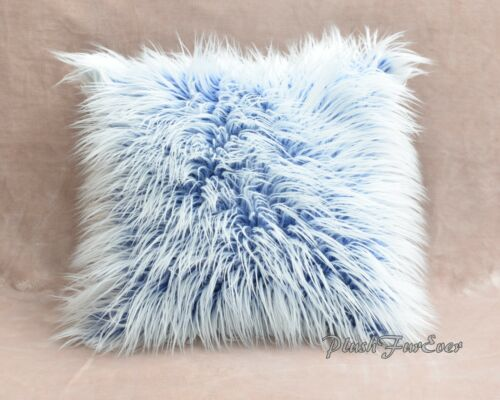 One Blue White Frost Mongolian Fur Pillowcase Cover Suede Backing Throw Pillow