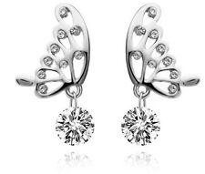 Shiny  Silver and White Zirconia Butterflies Drop Stud Earrings Studs E564