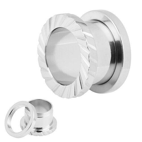 Bollos oreja túnel Plug piercing plata de acero inoxidable con estrías//muescas de cabio