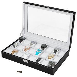 Coffret pour 24 montres boîte à montre boîtier rangement bijoux noir blanc