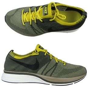 3d4a2785a8d03 Nike Flyknit Trainer Running Shoes Size 10 Cargo Khaki Black Yellow ...