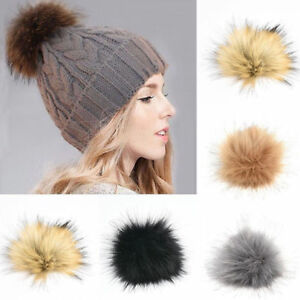 5c18367e0 Details about DIY 10CM 12CM Cute Faux Rabbit Fur Pom Pom Ball Pompoms  Knitting Hat Accessories