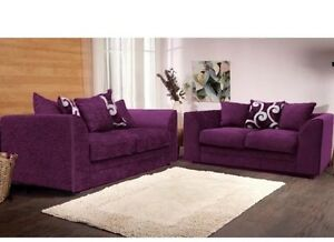 Dylan zina chenille fabric 3 2 sofa suite in aubergine for Purple chenille sofa
