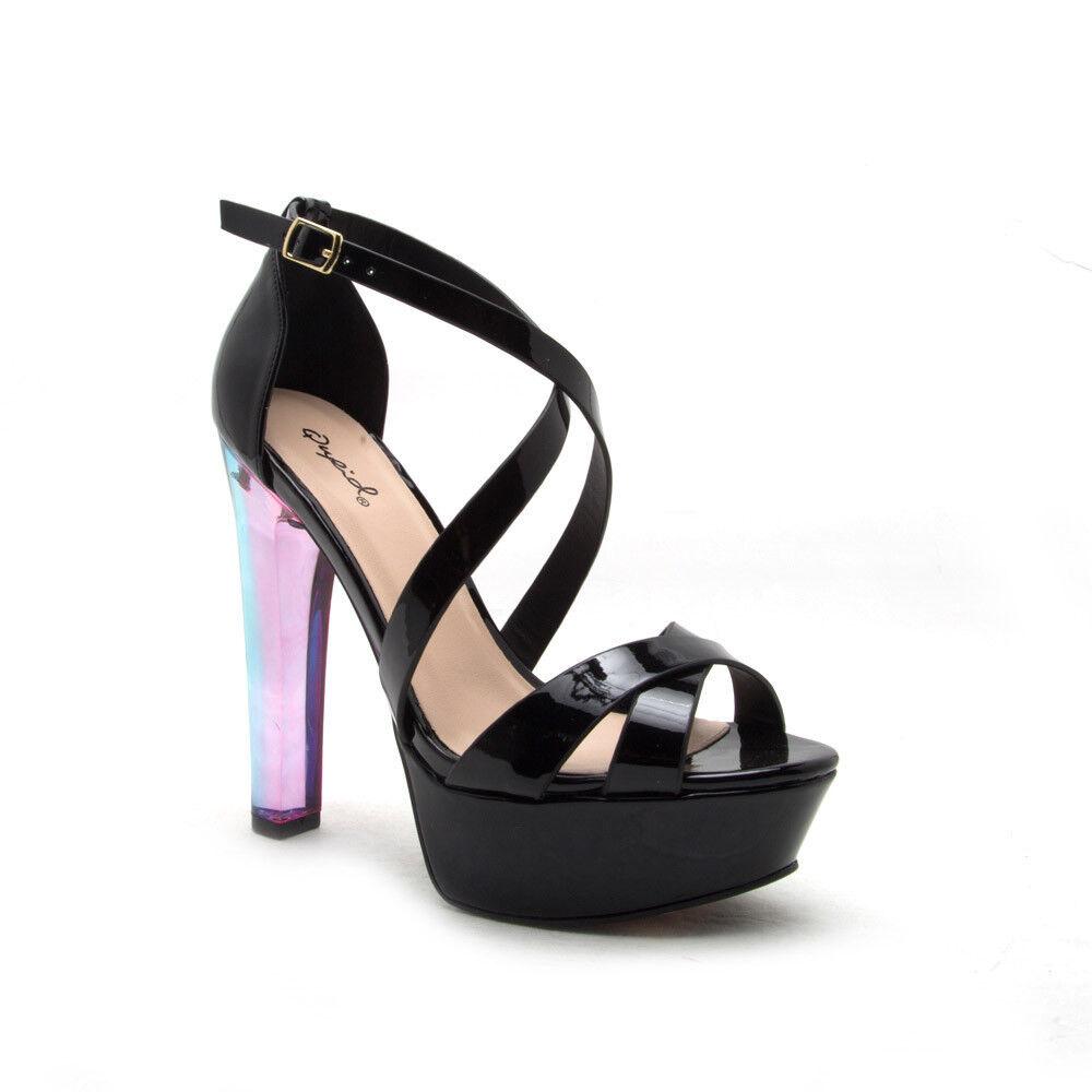 Liya-02 Qupid Peep Toe Elastic Strap Heel Sandal Black Patent Leatherette