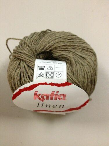 Fb 50g LINEN KATIA 53/% Baumwolle 47/% Leinen Linen Lin Hør Flax 13 Taupe-Braun