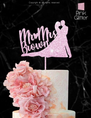 Mr Mrs Wedding Cake Topper Personalized  Bride Groom Customized Wood Laser IP110