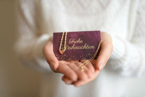 De Noël Carte plus cœur chaîne en or ou argent plus gescheenkverpackung