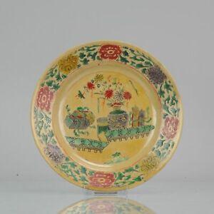 Antique-Ca-1700-Chinese-Porcelain-Kangxi-Famille-Verte-Cafe-Au-Lait-Plat