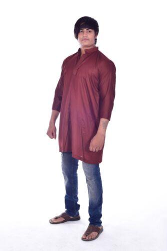 Indian Men's 100/% Cotton Tunic Kurta Shirt Plus Size 4xl 5xl 6xl Maroon color