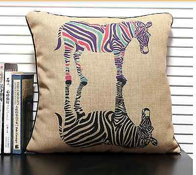 NEW LINEN COTTON NATURAL RUSTIC ZEBRA AFRICAN CUSHION COVER CASE HOME GIFT HOUSE