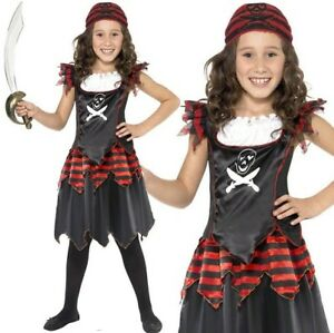 Childrens-Girls-Fancy-Dress-Pirate-Girl-Costume-Black-Red-Kids-Outfit-by-Smiffys