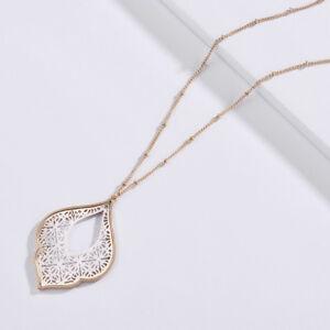 Two-Tone-Gold-Filigree-Cutout-Morocco-Pendant-Long-Necklace-Teardrop-Jewelry