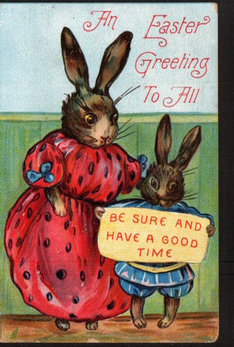 AB2412 HOLIDAY DRESSED EASTER BUNNIES GREETINGS TO ALL POSTCARD