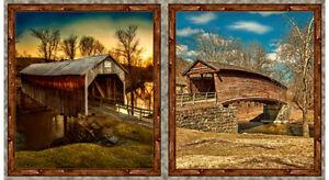 QUILTING-TREASURES-Fabric-Panel-ARTWORKS-DIGITAL-COVERED-BRIDGES-24-034-x-44-034