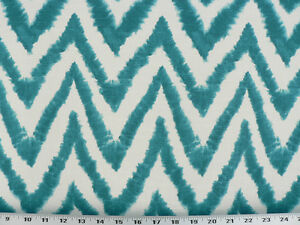 Drapery Upholstery Fabric 100 Cotton Tie Dye Ikat Slub Turquoise