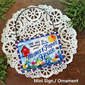 Mini-Sign-SKY-BLUE-Mema-amp-Papa-039-s-HOUSE-Wood-Ornament-gift-sign-NEW-Decowords