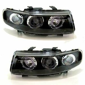 Seat-Leon-1999-2005-Black-Halo-Angel-Eye-Projector-Front-Headlights-Lights-Pair