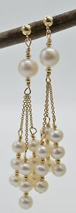 #BE-103 New 14K Solid Gold Cultured Natural White Pearl Chandelier Earrings