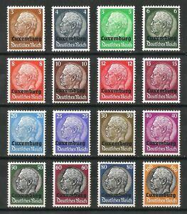 DR-Nazi-3rd-Reich-Rare-WW2-Stamp-Hindenburg-Medalion-Overprint-LUXEMBURG-FullSet