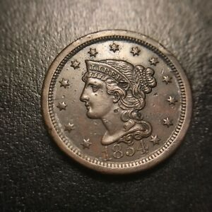 1854 Braided Hair Large Cent Uncirculated UNC Coronet Late Date Newcomb EAC