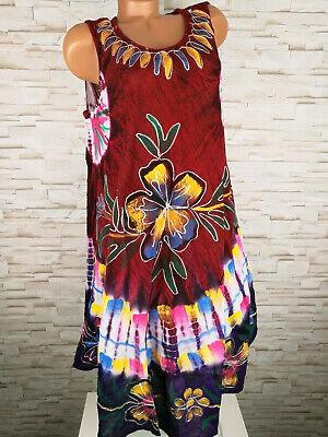 KLEID lang Damen BLUMEN Batik bunt ROT 44 46 48 L XL | eBay