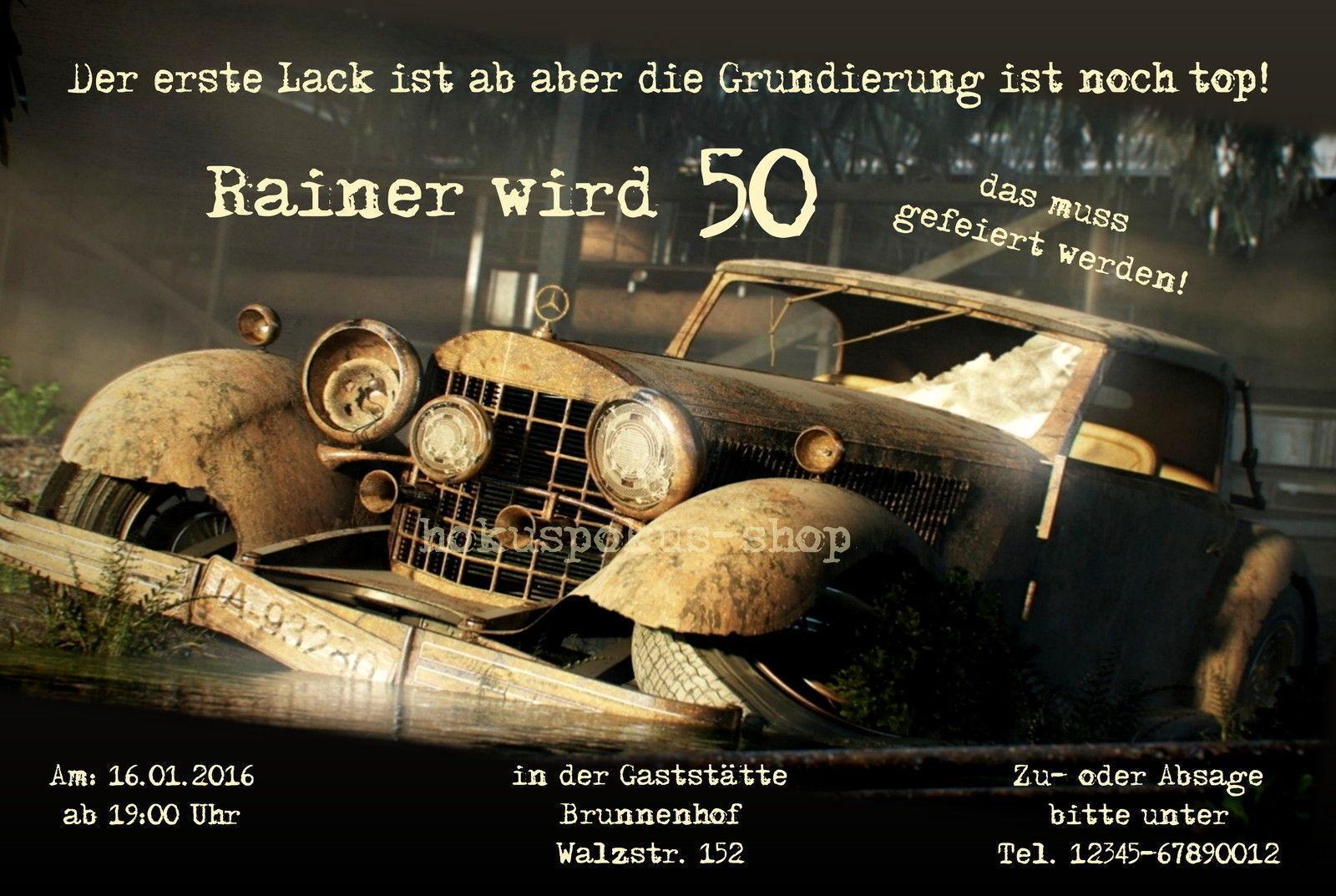 Einladungskarten Geburtstag Oldtimer Mercedes VW Bulli Bus Einladungen 40 50 60 | Marke  | Starker Wert