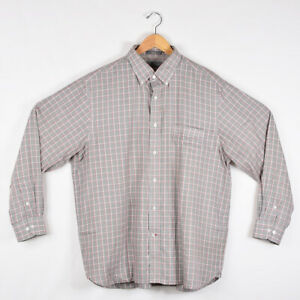 Men-039-s-Daniel-Cremieux-Long-Sleeve-Dress-Shirt-Gray-Red-White-Plaid-Size-XL