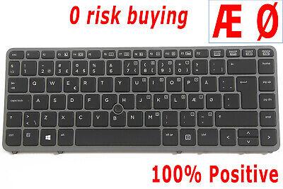 For HP EliteBook 840 G1 850 G1 Keyboard backlit Point Danish Dansk Black Frame