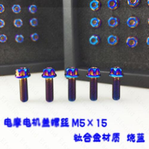 15 mm Titanium Electric Motor Cover Screws Modified screws Bolt Blue 4PCS M5